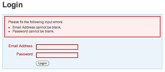 Modified Login Form with Errors