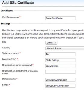 Control Panel for Creating Certificates